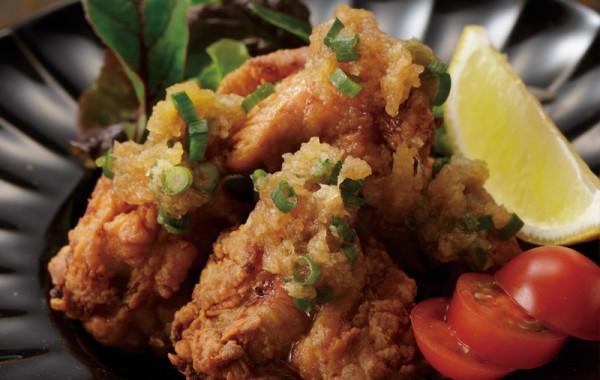 三宝亭の若鶏のからあげ おろしポン酢ソース $8.50<br />SANPOUTEI Deep fried Spring Chicken with OROSHI YUZU Ponzu Sauce