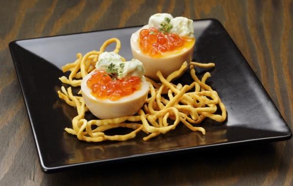 味付き玉子 いくら添え $6.00<br />Flavored soft-boiled Egg topped with Ikura
